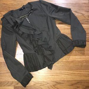 Ryu Olive Green Brown Ruffled Zip Jacket Small